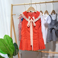 [363175] - Dress Modish Anak Perempuan / Fashion Anak Import - Motif Long Tie Polkadot
