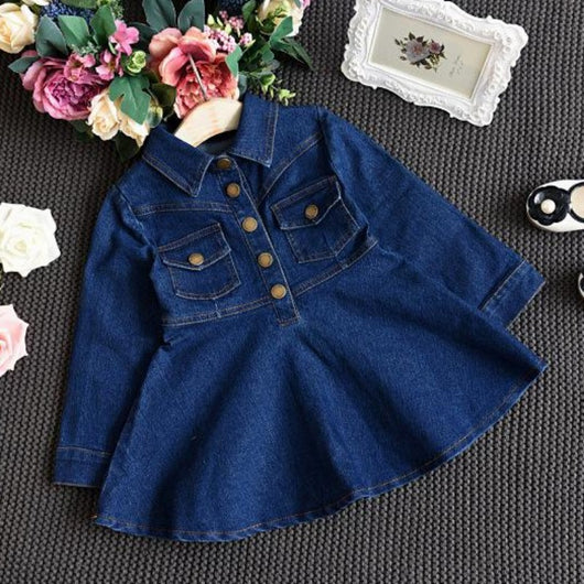 [363224] - Dress Fashion Trend Anak Perempuan Import - Motif Big Button Jeans