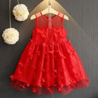 [363229-RED] - Dress Import Fashion Trend Anak Perempuan - Motif Tutu Flower