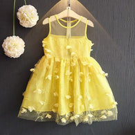 [363229-YELLOW] - Dress Import Fashion Trend Anak Perempuan - Motif Tutu Flower