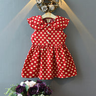 [363230-RED] - Dress Import Fashion Trend Anak Perempuan - Motif Polkadot