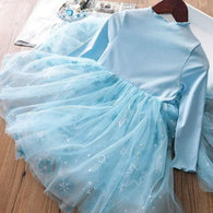 [363234-BLUE] - Dress Import Fashion Trend Anak Perempuan - Motif Snow Tutu