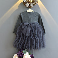 [363236-GRAY] - Dress Import Fashion Trend Anak Perempuan - Motif Wrinkle Tutu