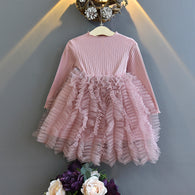[363236-PINK] - Dress Import Fashion Trend Anak Perempuan - Motif Wrinkle Tutu