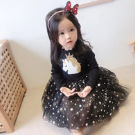 [363238-BLACK] - Dress Import Fashion Trend Anak Perempuan - Motif Unicorn Star