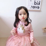 [363238-PINK] - Dress Import Fashion Trend Anak Perempuan - Motif Unicorn Star