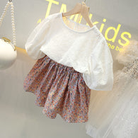 [363246-WHITE] - Setelan Import Fashion Trend Anak Perempuan - Motif Abstract Flowers