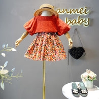 [363246-BRICK RED] - Setelan Import Fashion Trend Anak Perempuan - Motif Abstract Flowers