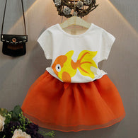 [363248] - Setelan Import Fashion Trend Anak Perempuan - Motif Decorative Fish
