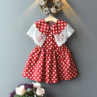 [363250-RED] - Dress Import Fashion Trend Anak Perempuan - Motif Polkadot Lace