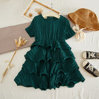 [363252-DARK GREEN] - Dress Import Fashion Trend Anak Perempuan - Motif Layer Lines