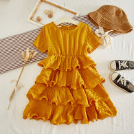 [363252-MUSTARD] - Dress Import Fashion Trend Anak Perempuan - Motif Layer Lines