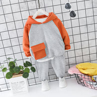 [364129-GRAY ORANGE] - Setelan Premium Sweater Hoodie Anak / Setelan Import - Motif Big Pocket