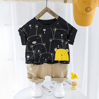 [367104-BLACK] - Setelan Jalan Import Anak Dandy Style - Motif Bear Friends