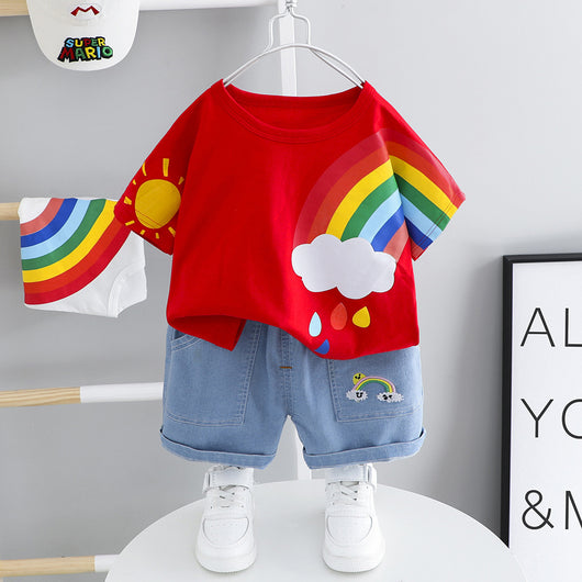 [367105-RED] - Setelan Jalan Anak Unisex Import - Motif Rainbow and Sun