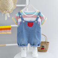 [367107-PURPLE WHITE STRIPE] - Baju Setelan Overall Import Anak - Motif Pocket Watermelon