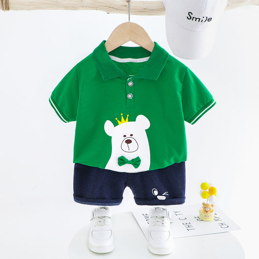 [367127-GREEN] - Setelan Kaos Kerah Anak Import - Motif King of Bears