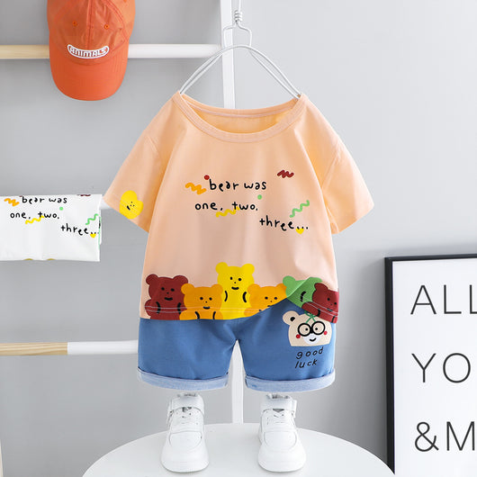 [367129-PEACH] - Setelan Street Wear Anak Import Dandy Style - Motif Good Luck Bear