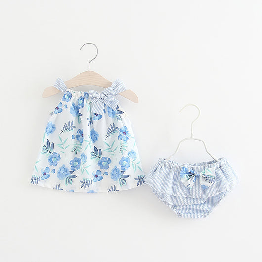 [367135-BLUE] - Setelan Anak Perempuan Import Electric colours - Motif Floral Pattern