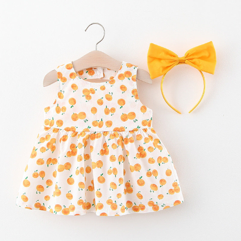 [367136-MUSTARD WHITE] - Dress Anak Perempuan Import - Motif Fruit Pattern