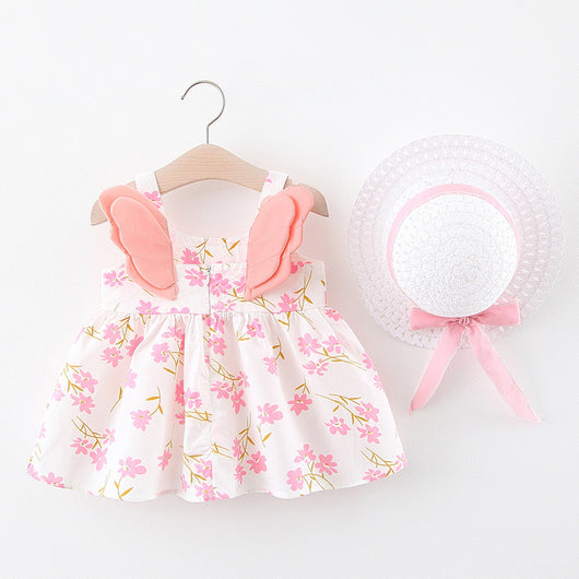 [367139-PINK] - Dress Anak Perempuan Import Electric Colours - Motif 3D Wings