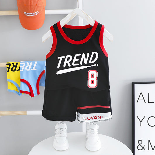 [367141-BLACK] - Setelan Sports Wear Anak Import - Motif Basketball Trends