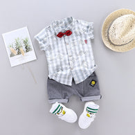 [368101-GRAY] - Setelan Kemeja Fashion Anak / Setelan Fashion Anak Import - Motif Writing Pattern