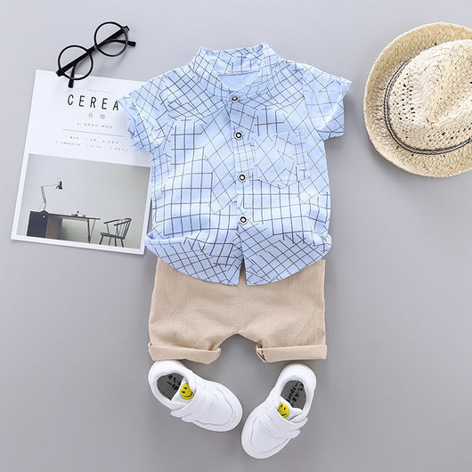 [368111-LIGHT BLUE] - Setelan Kemeja Koko Anak Import - Motif Abstract Windowpane
