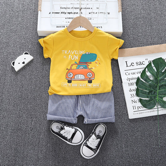 [368141-YELLOW] - Setelan Jalan Anak  / Setelan Fashion Anak Import - Motif Travelling is Fun