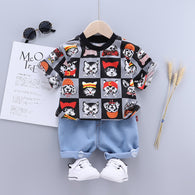 [368153-BLACK GRAY] - Setelan Jalan Anak Fashionable / Setelan Anak Import - Motif Cat Expression