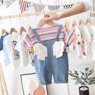[369112-PURPLE STRIPE] - Baju Setelan 3D Overall Anak Import - Motif Colorway Pattern
