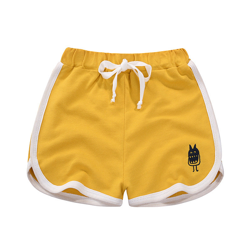 [370126-YELLOW] - Celana Santai Anak Import / Celana Pendek Anak - Motif Little Monster