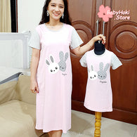 [371319] - Dress / Daster Couple Ibu Anak Import - Motif Rabbit Twins