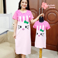 [371320] - Dress / Daster Couple Ibu Anak Import - Motif Hello Kitty Abstract