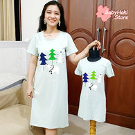 [371325] - Dress / Daster Couple Ibu Anak Import - Motif Wood Forest