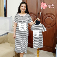 [371326] - Dress / Daster Couple Ibu Anak Import - Motif Bear Caifu