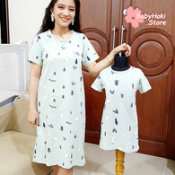 [371327] - Dress / Daster Couple Ibu Anak Import - Motif Squirrel Forest