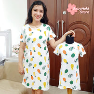 [371340] - Dress / Daster Couple Ibu Anak Import - Motif Pineapple Colored