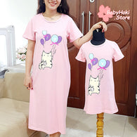 [371341] - Dress / Daster Couple Ibu Anak Import - Motif Fat Cat Balloon