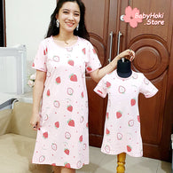 [371342] - Dress / Daster Couple Ibu Anak Import - Motif Fresh Strawberry