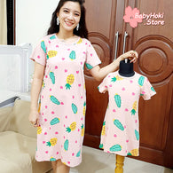 [371343] - Dress / Daster Couple Ibu Anak Import - Motif Love Pineapple