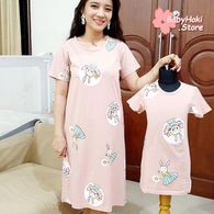 [371344] - Dress / Daster Couple Ibu Anak Import - Motif Rabbit Fairy
