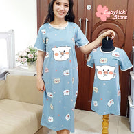[371345] - Dress / Daster Couple Ibu Anak Import - Motif Chubby Pigs