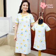 [371346] - Dress / Daster Couple Ibu Anak Import - Motif Cat Playing