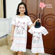 [371347] - Dress / Daster Couple Ibu Anak Import - Motif Striped Cat