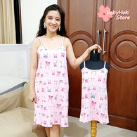 [371356] - Slip Dress / Daster Couple Ibu Anak Import - Motif Shy Rabbit