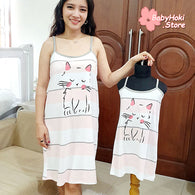 [371358] - Slip Dress / Daster Couple Ibu Anak Import - Motif Big Striped Cat