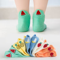 [377101-GREEN TOSCA] - Kaos Kaki Anak Lucu 5 In 1 Import - Motif Bordir Watermelon Cut