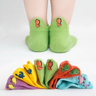 [377101-GREEN] - Kaos Kaki Anak Lucu 5 In 1 Import - Motif Bordir Dinosaur