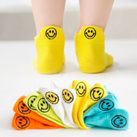[377101-LIGHT YELLOW] - Kaos Kaki Anak Lucu 5 In 1 Import - Motif [Bordir] Smile Emoji